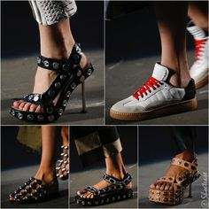 """Alexander Wang Spring 2016 Shoes As a huge studded shoe lover (did you see my post featuring these studded heels?), there is nothing for me not to love about Alexander Wang's Spring 2016 Women's shoes. Some of the """"studs"""" are actually snap buttons, but no less glam & rock 'n roll in nature. The chain detail Teva-like sandal is insane & cage slip ons with huge baubly studs are tremendous. Not sure about the enormous platforms paired with the stiletto heels, though. A definite improvement from…"""