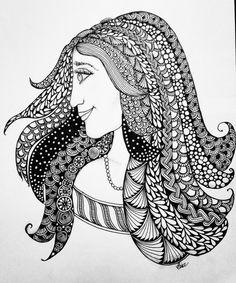 Zentangled Girl #lovezen #binazen #zentangle