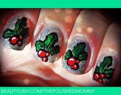 Glistening Holly christmas #nail #nails #nailart