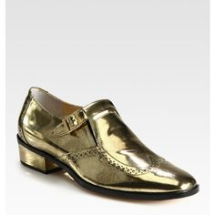 Jimmy Choo Bay Metallic Leather Buckle Oxfords ($358) ❤ liked on Polyvore