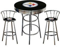 Amazon 5 piece dallas cowboys logo chrome finish black pub dallas cowboys logo themed 3 piece chrome metal finish bar table set with 2 swivel seat cowboys fabric themed bar stools watchthetrailerfo