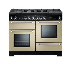 Rangemaster Kitchener range Cooker with Dual Fuel Gas Hob, fan oven & conventional oven. Available in Ivory, Gloss Black, Stainless Steel, Cream & Silver.