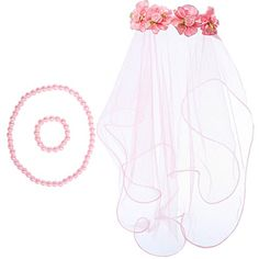 kilofly Girls First Communion Flower Headband Veil  Necklace Bracelet Value Set ** You can get more details by clicking on the image.