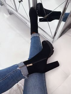 Women Boots Thigh High Wedge Boots Mens High Lace Up Boots Knee Boots – licheetal Fancy Shoes, Pretty Shoes, Crazy Shoes, Me Too Shoes, Beautiful Shoes, Suede Booties, Black Booties, Bootie Boots, Shoe Boots