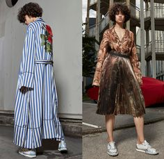 Off-White 2017 Resort Cruise Pre-Spring Womens Lookbook Presentation - Denim Jeans Frayed Raw Hem Flare Bell Bottom Reverse Blouse Crane Bomber Jacket Knitwear Outerwear Trench Coat Roses Embroidery Flowers Floral Botanical Shorts Onesie Jumpsuit Coveralls Camouflage Stripes Accordion Pleats Skirt Frock Sleepwear Pajamas Lounge