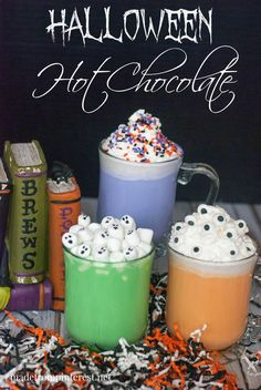Halloween Hot Chocolate - TGIF - This Grandma is Fun Halloween Hot Chocolate. An easy recipe for a white hot chocolate that you can add some halloween colors to. Check out the ghost mini marshmallows! Halloween Snacks, Halloween Breakfast, Halloween Goodies, Spooky Halloween, Holidays Halloween, Halloween Drinks For Kids, Halloween Costumes, Halloween Baking, Halloween Parties