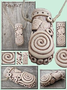 No Tute - Series of interesting creations with ancient/ethnic look.  Worth a study.  In French. #polymer clay.