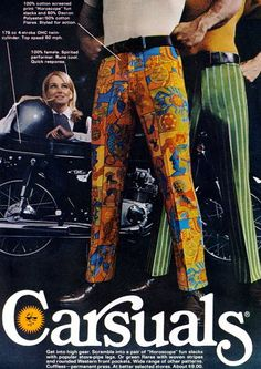 Straight from men's fashion magazine ads and groovy catalogs like JC Penny and Flagg Bros., these men's fashions are far out! Add these groovy threads to y Bad Fashion, Fashion Fail, Funny Fashion, Fashion Trends, Trendy Fashion, Fashion Shoes, Weird Fashion, Future Fashion, Fashion Fashion