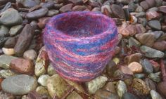 'Red sky at night' needle felted vessel £10.50