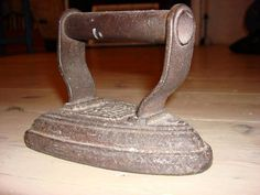 Can you remember pressing your clothes with these irons? Heat and wipe, then press...