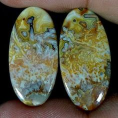 18.80Cts 100% NATURAL CRAZY LACE AGATE DESIGNER GEMSTONE OVAL CABOCHON PAIR #Handmade