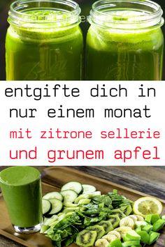entgifte dich in nur einem monat mit zitrone sellerie und grunem apfel #entgifte #zitrone #sellerie#grunem #apfel Stevia, Dressings, Monat, Pickles, Cucumber, Smoothie, Detox, Food, Need To Pee