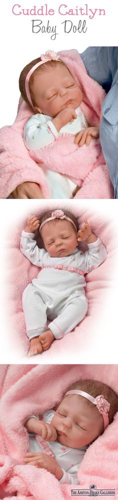 There's nothing better than a warm bundle of joy! Cuddle up with Caitlyn, a lifelike baby doll by Master Doll Artist Violet Parker and discover what makes her extra special - a warming feature inside her little body makes her feel so real in your arms!