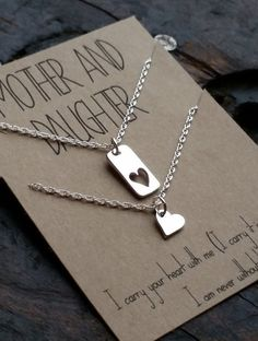 Mother Daughter Necklace Set . i carry your heart by honeyverse