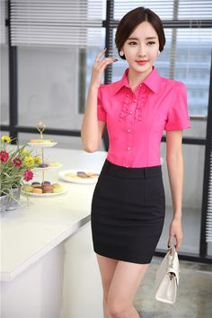 8bc1450257f9 New Elegant Rose Fashion Slim Uniforms Female Office Suits Blouses And  Skirt 2015 Summer Short Sleeve