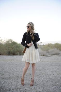 Leather jackets and girly dresses.