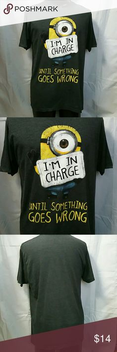 Men's soft minion tee shirt. 50/50 blend. Large Novelty tee shirt. For the minion lover. Men's size Large. 50% cotton, 50% polyester. Very soft. No flaws to note. Will not shrink. Bundle for a better price. Minion Shirts Tees - Short Sleeve