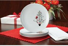 Rachael Ray 4-pc. Hoot's Decorated Tree Salad Plate Set on shopstyle.com