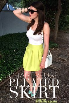 Chartreuse Pleated Skirt Tutorial by Bunny Baubles