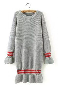 Gray Stripe Long Sleeve Knit Dress with Frill Detail - US 25.95 -YOINS Grey  Knit 0140d79c28d9