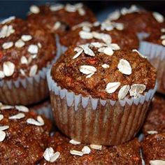Easy Morning Glory Muffins - Allrecipes.com 1 cup of almond meal for 1 cup of flour instead of extra carrots i added a zucchini  1 cup plain whole milk yogurt and 1/4 oil for the fat