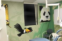 Mural Magic transformed the Woodroffe Paediatric Dentistry with this combination of jungle theme murals as well as a collection of custom canvases. Jungle Theme, Custom Canvas, Mural Painting, Ottawa, Canvases, Dentistry, Murals, Hand Painted, Magic