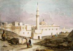 Algérie - Peintre Britannique WYLD William (1806-1889) et Peintre Français LESSORE Emile (1805-1876), Aquarelle 1835, Titre : Place de Bone ( Annaba)