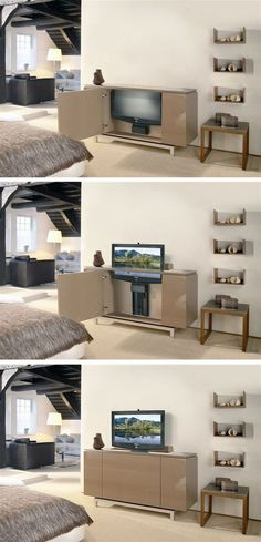 This is a Great Solution to Make Flat Screen TV Disappear When it's not in Use. Hang an art piece behind the TV