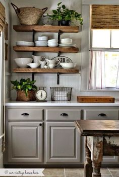 Loving the gray with rustic finishes