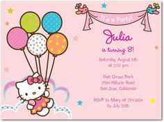 Birthday Party Invitations Hello Kitty: Helpful Birdies - Front : Tiny Prints (matching thank yous; address labels and stickers) Kitty Party, Hello Kitty Theme Party, Hello Kitty Themes, Hello Kitty Birthday Invitations, Free Printable Birthday Invitations, Birthday Party Invitations, Invites, Printable Party, Anniversaire Hello Kitty