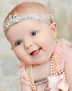 Baby Headband Crystal & Pearl Tiara Headband Baby di ThinkPinkBows, $8.95