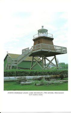 North Pierhead Light, Lake Michigan, Two Rivers, Wisconsin -  Vintage Lighthouse Book Print. $2.75, via Etsy.