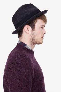 d009f1ada0e Rag   Bone Charcoal Hackman Fedora Hat for men