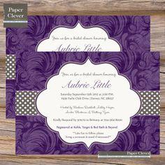 Hey, I found this really awesome Etsy listing at https://www.etsy.com/listing/97525581/elegant-bridal-shower-invitations-purple