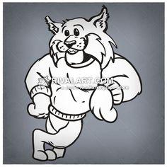 BOBCAT LEANING Mascot Image Leaning for School T-shirt Design.