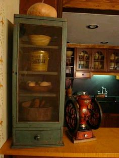 great small painted screened in cupboard and coffee mill