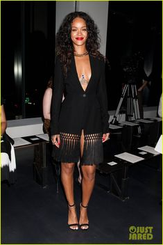 rihanna altuzarra alexander wang fashion shows 01 Rihanna rocks a plunging neckline at the Altuzarra fashion show during Mercedes-Benz Fashion Week Spring 2015 at Spring Studios on Saturday (September 6) in New…