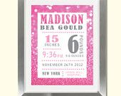 Pink Glitter Birth Status, Nursery Room Art https://www.etsy.com/shop/DesignsByDanaV