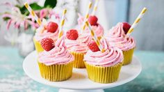 Pink Raspberry Lemonade Cupcakes by Martha Collison from GBBO