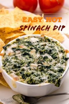 Spinach Appetizers, Baked Spinach Dip, Creamy Spinach Dip, Yummy Appetizers, Spinach Dip Recipes, Easy Dip Recipes, Fresh Spinach Dip Recipe Easy, Homemade Spinach Dip, Potato Recipes