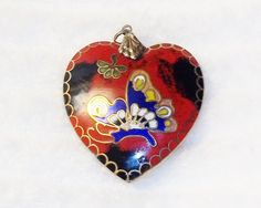 """Vintage Red Cloisonne Heart Pendant Double Sided 1.75""""  Flower & Butterfly"""