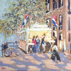 Dutch, Amsterdam, Lekker visje, Viskraam, Impressionist, Amsterdamse gracht