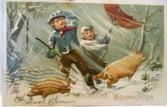 1910 GERMAN POSTCARD FROHLICHE WEIHNACHTEN,MERRY CHRISTMAS, BOYS WITH PIGS
