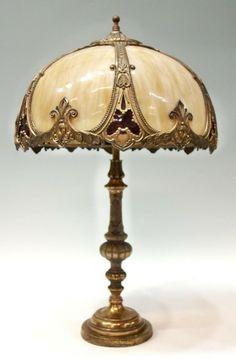 antique slag lamps | 319: ANTIQUE DUAL SOCKET SLAG GLASS & METAL TABLE LAMP : Lot 319