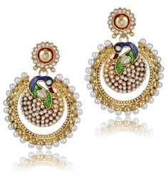 Peacock Style Gold Plated Party Wear White Pearl Beautiful Bollywood Earring #natural_gems15