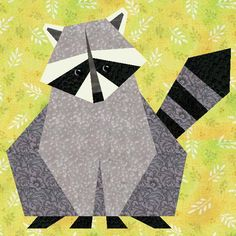Raccoon Paper Pieced Quilt Block