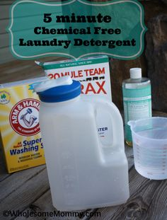 Homemade Chemical FREE laundry detergent - takes just 5 minutes!    Plus, it only cost $0.05 per load!!!  This is a keeper!  from WholesomeMommy.com