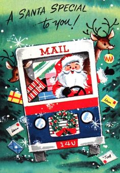 Santa Driving a Mail Truck Vintage Christmas Card Vintage Christmas Images, Retro Christmas, Vintage Holiday, Christmas Pictures, Vintage Greeting Cards, Christmas Greeting Cards, Christmas Greetings, Christmas Mail, Christmas Scenes