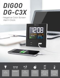 Digoo Clock, a multifuctional calendar with format switchable temperature humidity display and dual alarms snooze function, NAP fuction, is a LED Backlight Alarm Clock with 2 USB. 1 x Digoo USB Power Cable. Hanging Clock, Diy Clock, Clock Decor, Bedside Clock, Projection Alarm Clock, Digital Projection, Modern Clock, Led Projector, Temperature And Humidity