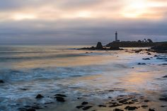 Last Light At Pigeon Point Lighthouse Photograph by Priya Ghose - Last Light At Pigeon Point Lighthouse Fine Art Prints and Posters for Sale  A seascape photograph depicting Pigeon Point Lighthouse located along Highway 1 between Santa Cruz and San Francisco, California, taken just as the setting sun broke through the moody cloud cover. #photography #lighthouse #santacruz